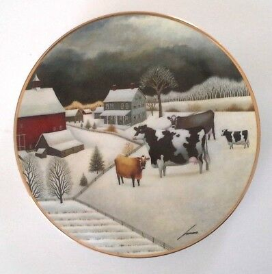 Cows In The Winter By Lowell Herrero Franklin Mint Certified Porcelain 8in Plate