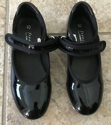 Pair of Black Tap Dance Shoes - Size Kids 10 from Freestyle