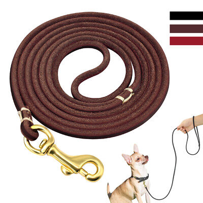 4ft 6ft Long Genuine Leather Dog Leash for Small Medium Dogs Brown Black Red