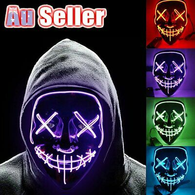 3 Modes Scary Mask Cosplay LED Costume Mask EL Wire Light Up The Purge Movie MN