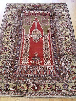"4' X 6'4""   Antique Turkish Kaisarieh Prayer Hand Made 100% Wool Oriental Rug"