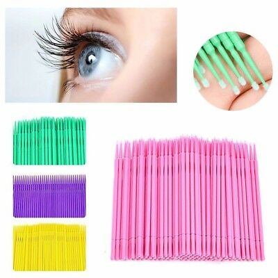 100x Micro Brushes Disposable Microbrush Applicators Eyelash Extension Swab RF