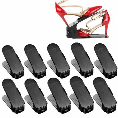 Lot 10 Adjustable Shoe Holder Stack Shoes Organizer Space Saver Shoes Plast E7W9
