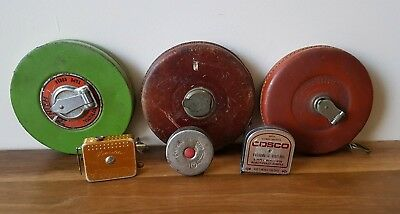 Vintage Collectable Tape Measures x 6 Leather Winding Australia England Tools