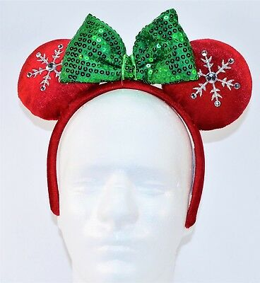 Disney Exclusive 2018 Christmas Minnie Ears Snow Flake Red & Green Headband NEW
