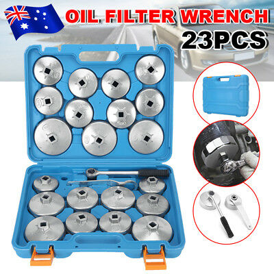 23Pcs Cup Type Oil Filter Wrench Removal Socket Remover Tool Aluminium Set Kit