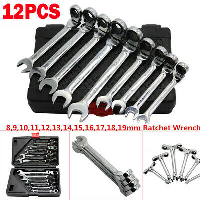 12pc/set 8-19mm SAE Metric Flexible Head Ratchet Wrench Combination Spanner Tool