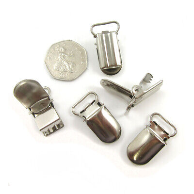 SILVER METAL BRACE DUMMY CLIPS 33 x 18mm HOLDER STRAP GRIPS  - UK SELLER   C590