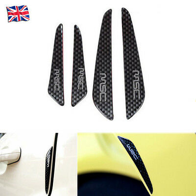 4X Black Carbon Fiber Sticker Car Van Door Anti Collision Scratch Edge Protector