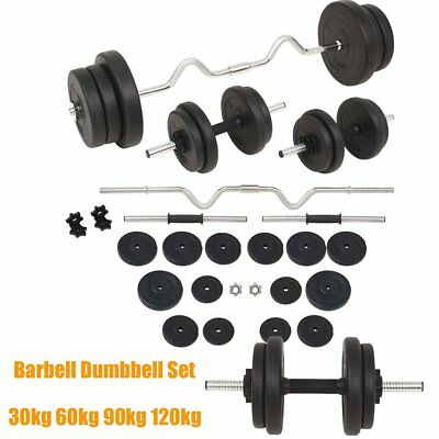 Barbell Dumbbell Set Triceps Curl Bar Weight Plate Weight Lifting 30KG-120kg UK