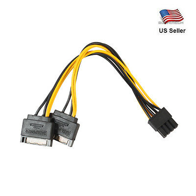 Dual 15Pin SATA Male To PCIe 8Pin (6+2) Male Video Card Power Cable