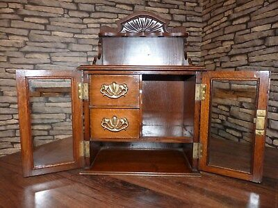Beautiful Antique English Oak Table Top Smokers Cabinet With Pipe Rack & Drawers