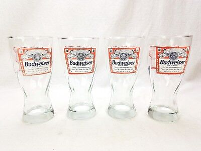 Vtg Swirled Budweiser Beer Glasses Set of 4 Clear Hourglass 12 oz