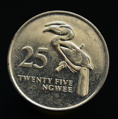 Zambia 25 Ngwee 1992, km29. Animals, birds UNC COIN