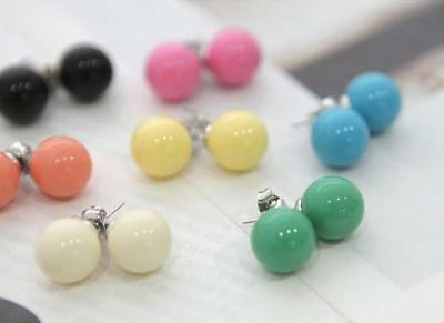 Cute Ball Stud Earrings Candy Coloured Plastic Pearl Pretty Princess Pair Of