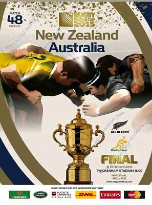 Rugby World Cup Final Programme 2015, New Zealand v Australia, mint condition