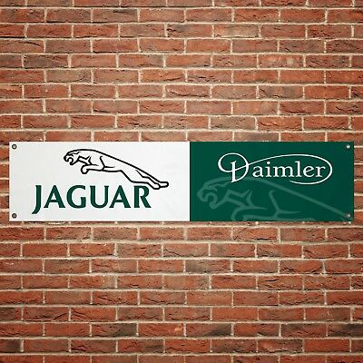 Jaguar Daimler Banner Garage Workshop PVC Sign Trackside Car Display Black