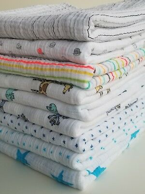ADEN AND ANAIS Cotton Muslin Baby Blanket Swaddle Stroller Boy Girl Neutral