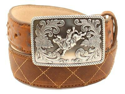 Nocona Western Boys Belt Kids Leather Ostrich Print X Stitched Tan N4440208