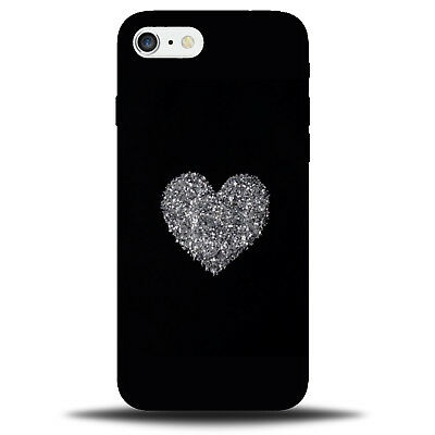 Black and Silver Glitter Love Heart Phone Case Cover | Glittery Grey Large C248