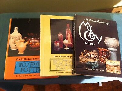3 Hardback Huxford Collector Books - Roseville 1 and 2 and McCoy Pottery