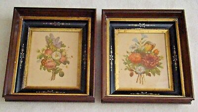 Pair Of Antique Victorian Wood Shadowbox Picture Frames * Hand Etching * Gilt