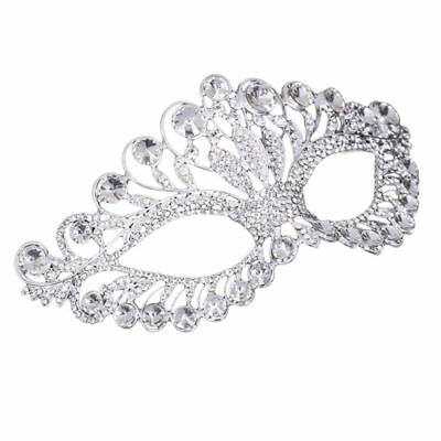 Luxury Elegant Silver Masquerade Party Mask Clear Rhinestone Ribbon Venetian US
