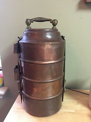 Antique Copper Tiffin Stackable Food Carrier Asian style 4 sections