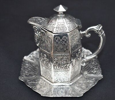 Wonderful Antique Eight Sided Dutch Silver Plated Chocolate Pot & Matching Stand