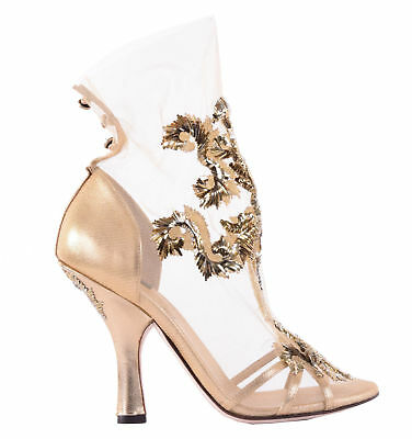 fbf54a31a13 DOLCE   GABBANA RUNWAY Baroque Gold Embroidery Pumps Shoes Heels 02885