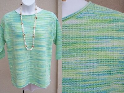 Talbots NEW space dye knit tunic top size L XL light waffle sweater shirt blouse
