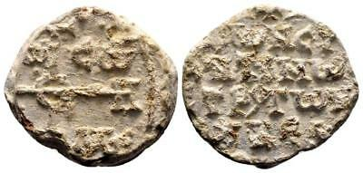 BYZANTINE LEAD SEAL/BLEISIEGEL OF CONSTANTINE STRATEGOS OF VOUKELLARIOI (8th c.)