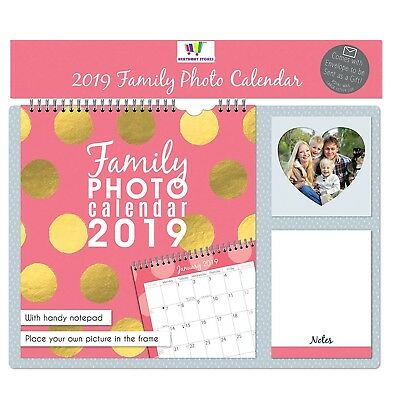 2019 Family Photo Favourite Calendar Personalise Notepad Spiral Bound New Pink