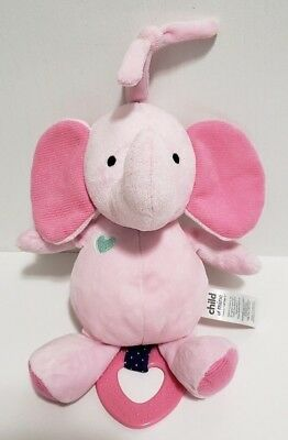 Carter's Baby Child of Mine Plush Pink Elephant Musical Pull Down Crib Toy Lovey