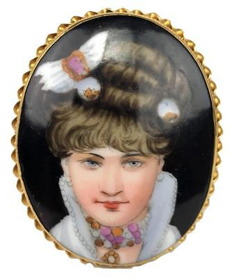 Antique French Porcelain Ormolu Bronze HandPainted Victorian Portrait Brooch Pin