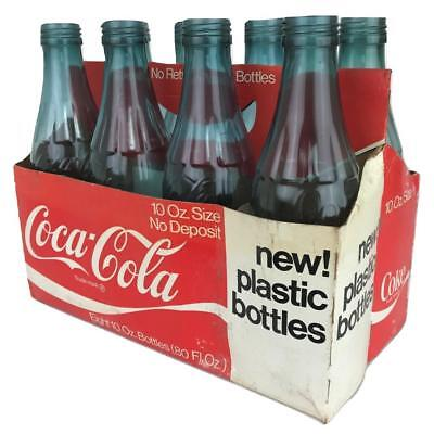Vtg 60s-70s COCA COLA MONSANTO Plastic 10oz COKE Bottle(s) 8-pack Paper Carrier