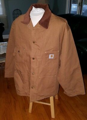 056759ffbf Men's size 54 3XL Carhartt Duck Chore Coat Blanket Lined work jacket C01  Brown