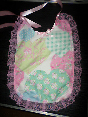Pink Floral Heart Adult Baby Sissy Bib Lace Trimmed Satin Ties Plastic Backed