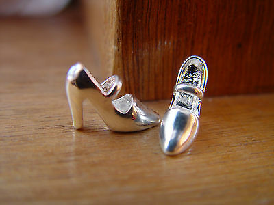 Doll House Scale Lovely Pair Of Real 'silver Plated' High Heel Shoes !! Buy Now.