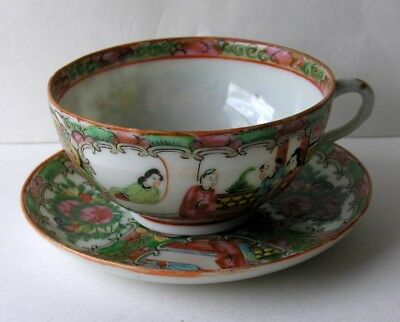 Vintage 1920s Chinese Famille Rose Medallion Porcelain Cup and Saucer