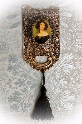 """Antique 24K GOLD Plated CAMEO Plaque Painting Brunette VICTORIAN Lady 4.5"""" X 2.5"""