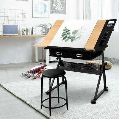 Tilt Drafting Table & Stool Drawing Craft Art Work Station Desk Storage Drawers