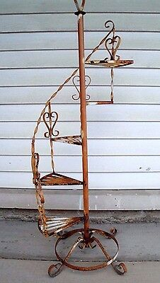 """Vintage Wrought Iron Plant Stand with 5 Spiral Steps - 51"""" tall"""