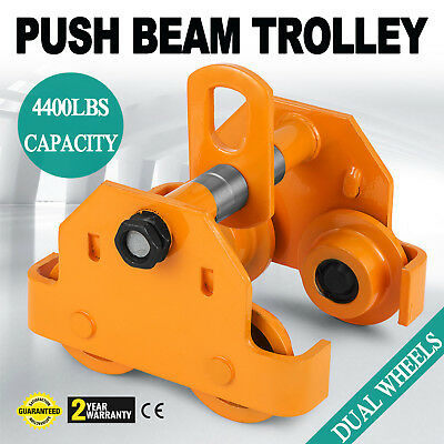 Brand New 2 Ton Push Beam Trolley Fits Straight Or Curved I-Beams