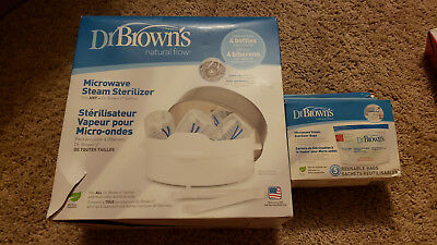 Bottle Sterilizer Dr Brown's Natural Flow Microwave Steam Brand New . Extra Bags