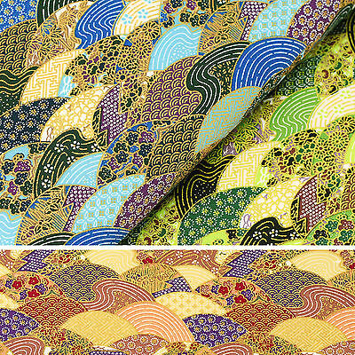 Japanese Cotton Fabric FQ Oriental Sea Wave Fish Circle Floral Asian Retro VJ27