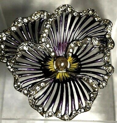 a4fe33db0 Exquisite Enameled Vintage Boucher Figural Rhinestone Pansy Flower Brooch