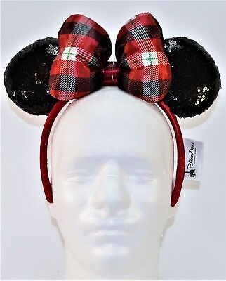 Disney Parks Exclusive 2018 Plaid Christmas Holiday Minnie Ears Headband NEW