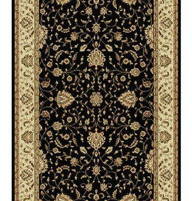 New HALL RUNNER Designer Floor Hallway Carpet VERONA BLACK FLORAL 80cm metre