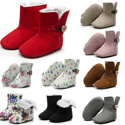 Newborn Toddler Baby Girls Floral Print Winter Warm Boots First Walkers Shoes 9